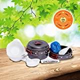 9-in-1 Camping Cookware Kit By EPPE-Stackable Outdoor, Hiking, Picnic Cooking Kit With Pot, Pan, Lid & Extras- Lightweight & Compact Pot Pan Bowls-The Best Aluminum Backpack Cookset With Carrying Bag