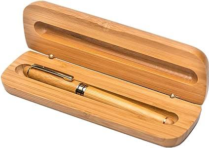 Pluma estilográfica de bambú natural con caja, punta media: Amazon.es: Oficina y papelería