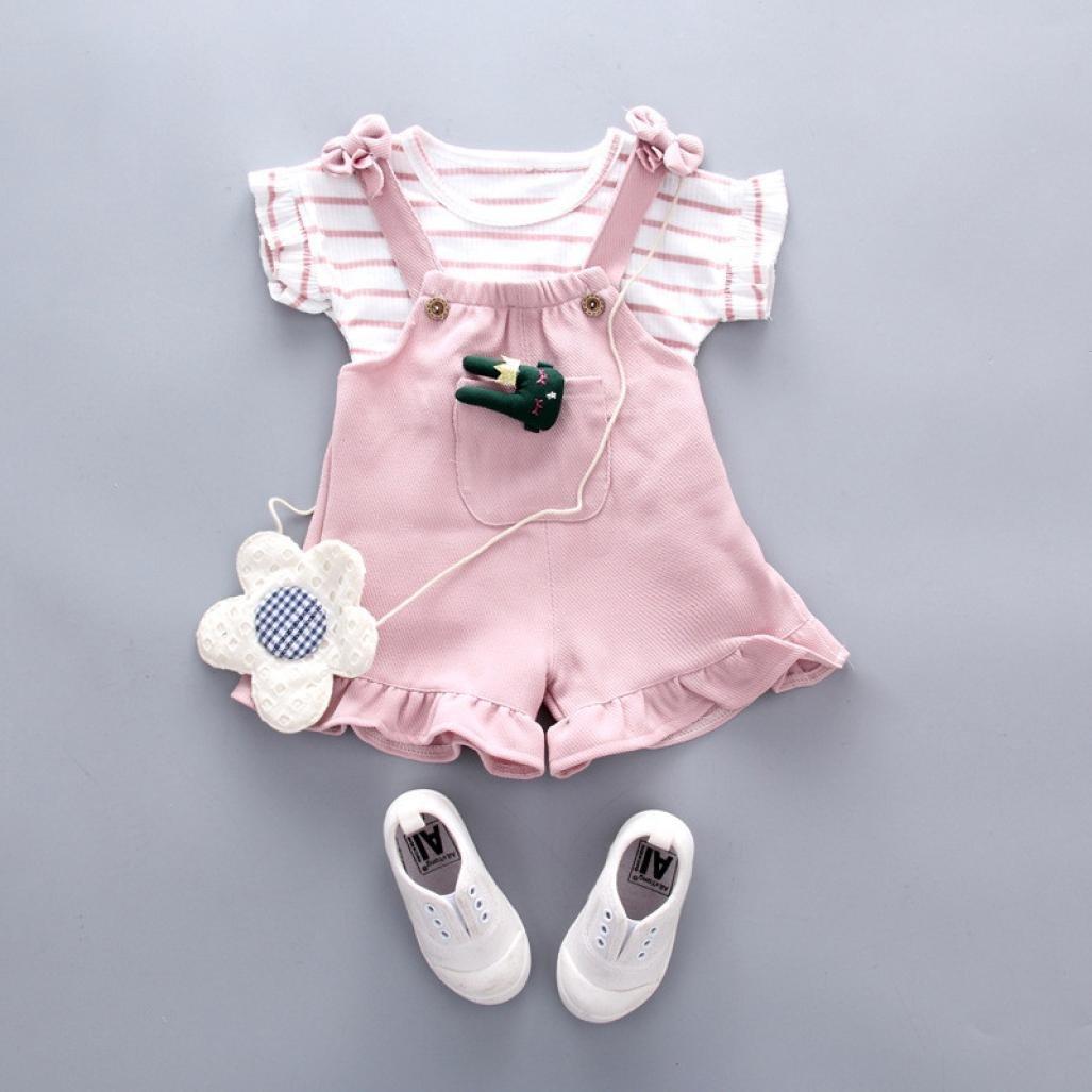 3 A/ños Counjunto de Ropa beb/é ni/ña ❤️ Amlaiworld Linda Camisa de Manga Corta a Rayas de Verano para ni/ñas beb/é pantal/ón Corto de Tirantes Beb/és Conjuntos 6 Mes