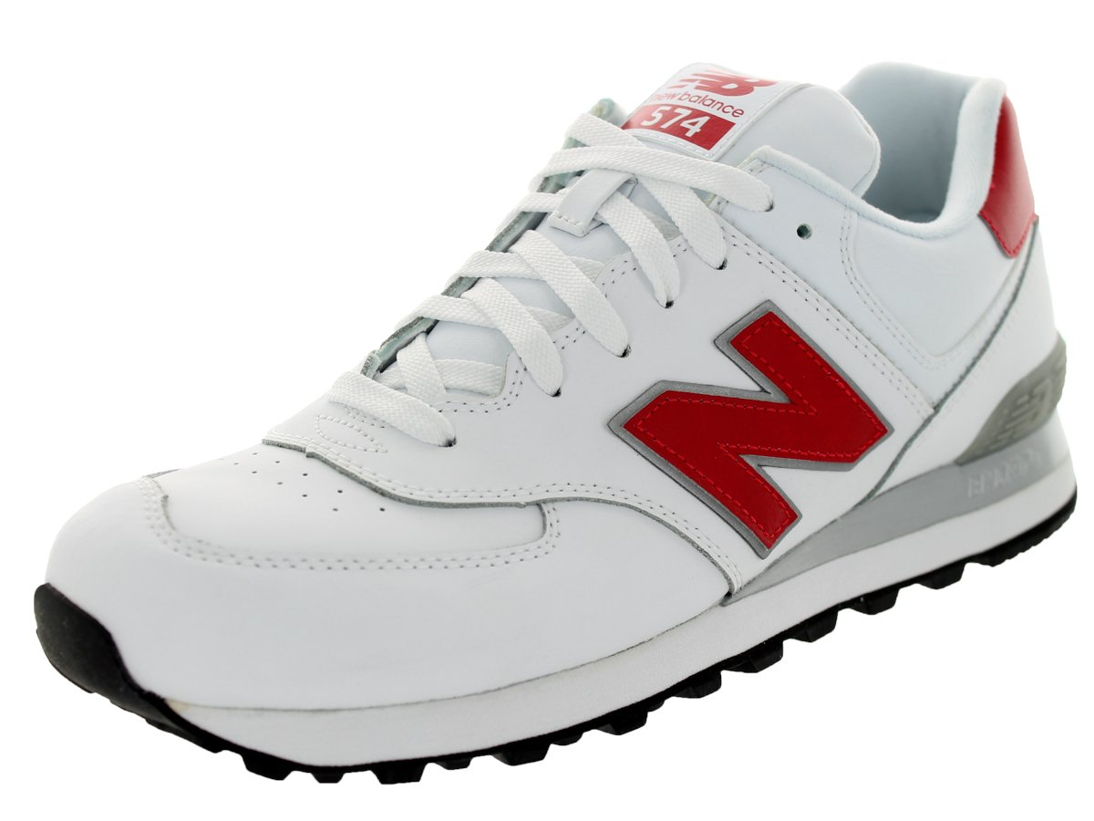 New Balance Men's NB574 Leather Pack Running Shoe B00H2DHX1W 8.5 D(M) US|White/Red