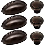 27pcs ORB Cabinet Knobs and Cup Handles, Sunriver 12 Packs Oil Rubbed Bronze Kitchen Cup Pulls 3 Inch 76mm Zinc Alloy…