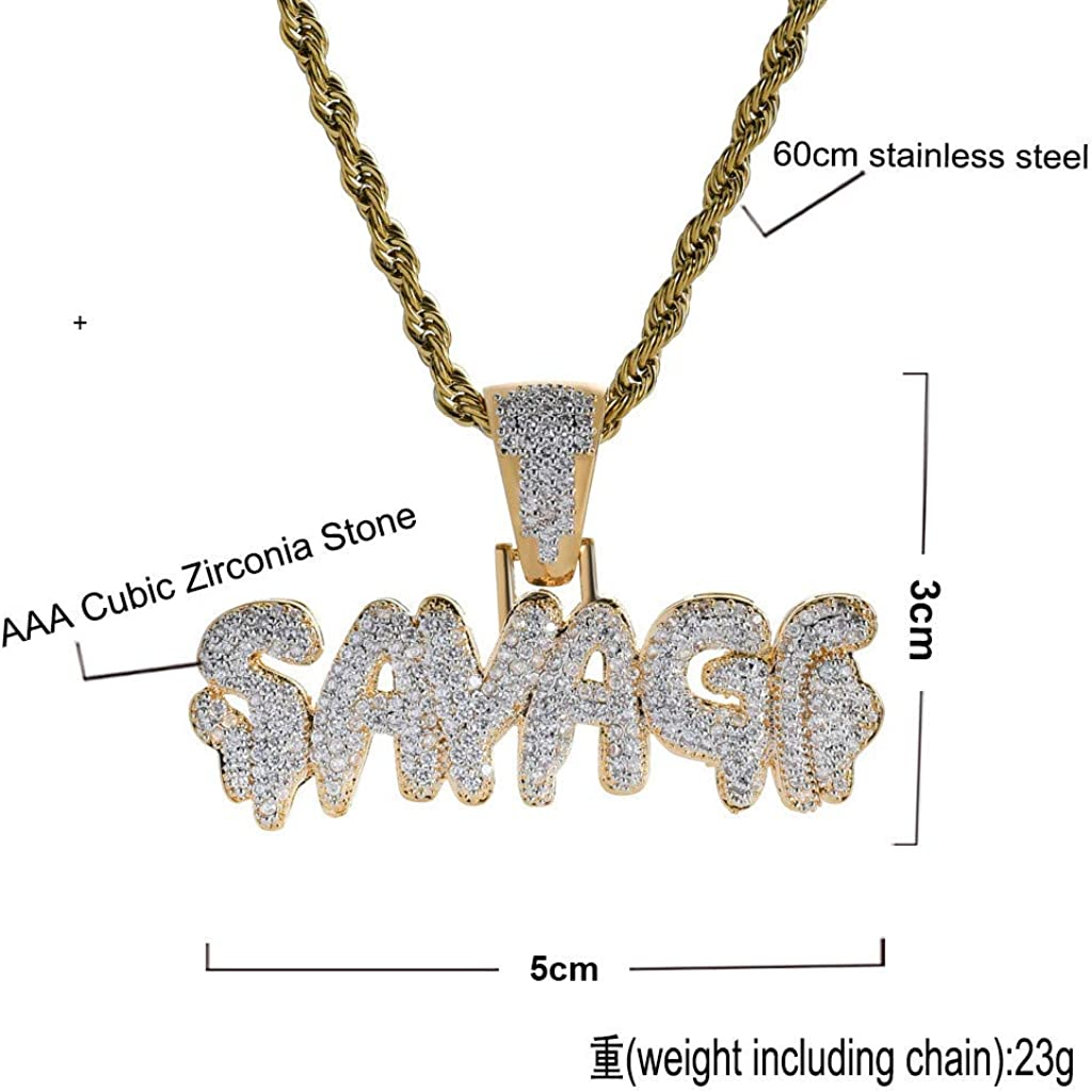 Geetobby Men Gold Plated Savage Pendant Necklace with 24in Long Rope Chain Necklace Hip-pop Fashion Charm