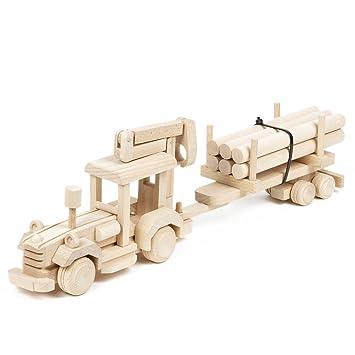 Fahrzeuge Trecker Holzspielzeug Traktor Holz Holztrecker Anhänger Fahrzeug Tiere Auto neu