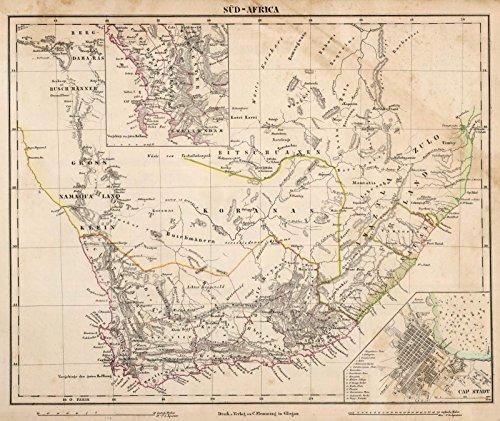 World Atlas | 1855 Sud-Africa. | Historic Antique Vintage Map Reprint