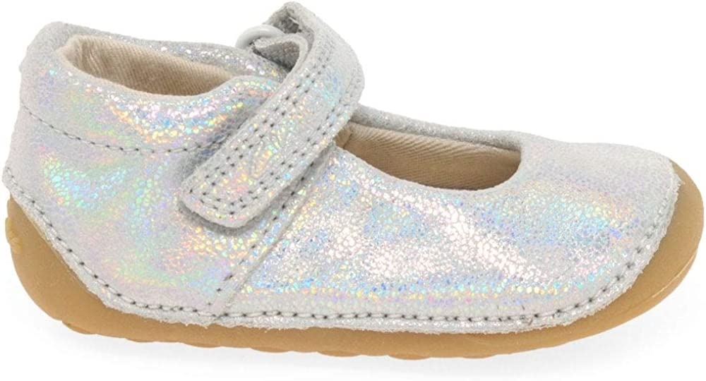 Clarks Tiny Mist Toddler Suede Shoes in Silver Metallic