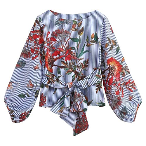 Clearance Todaies Women Lantern Sleeve Blouse Belted Mixed Striped Long Sleeve Tops Autumn Floral ()