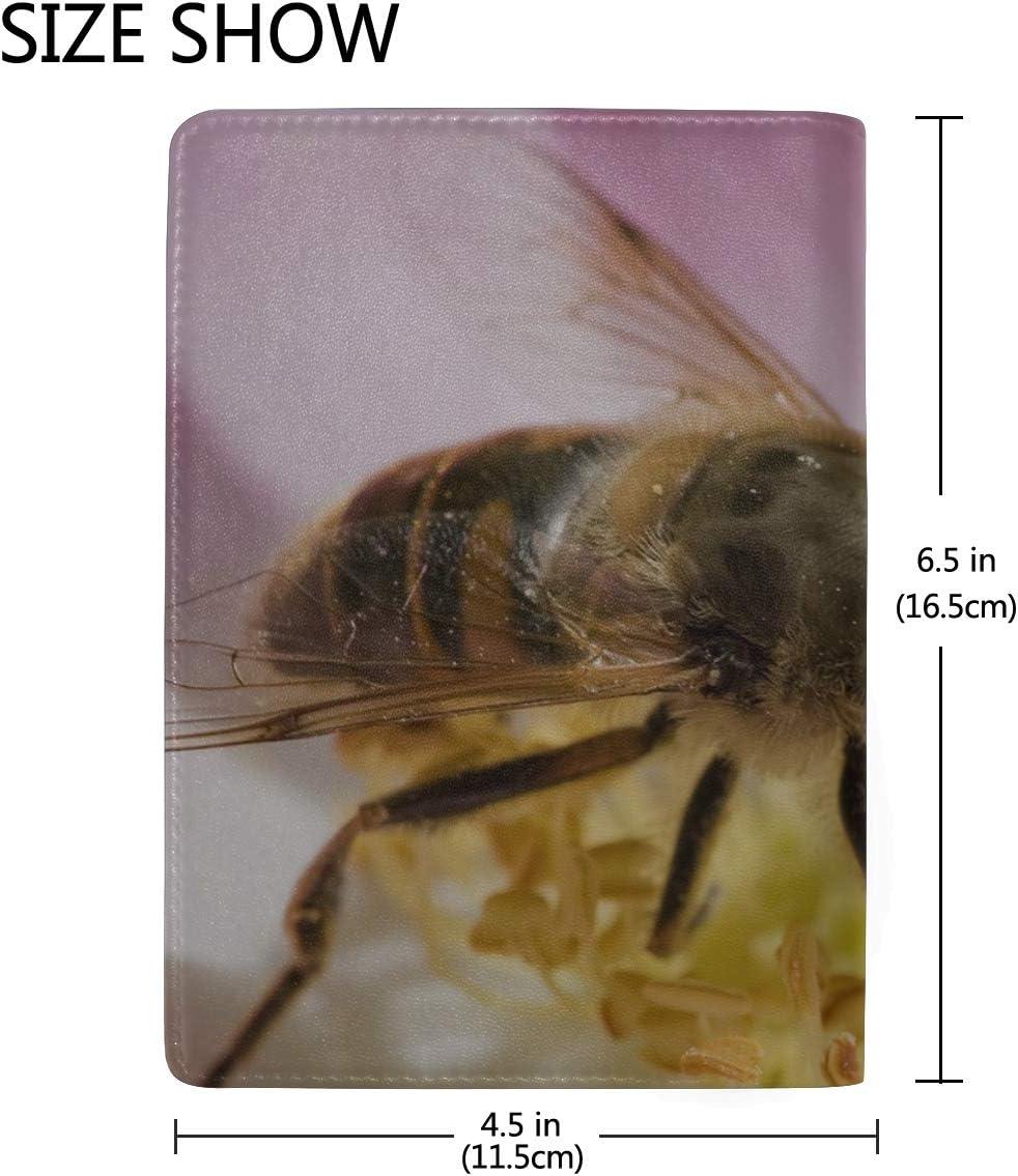 Maxm Bee Flower Pollen Petals Leather Passport Holder Cover Case Travel One Pocket
