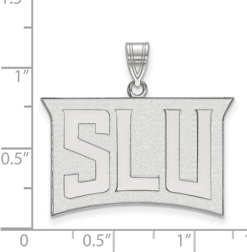10k White Gold Saint Louis University Billikens School Letters Logo Pendant