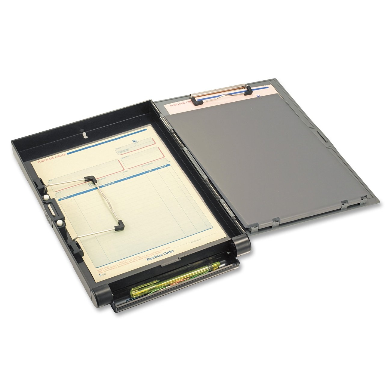 Officemate Recycled Clipboard Storage/Forms Holder, Plastic, Side Opening, Gray/Black (83353)