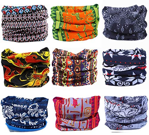 KINGREE 9PCS Headbands, Outdoor Multifunctional Headwear, Sports Magic Scarf, High Elastic Headband with UV Resistance, Athletic Headwrap, Mens Sweatband, Womens Hairband (Ethnic Series)
