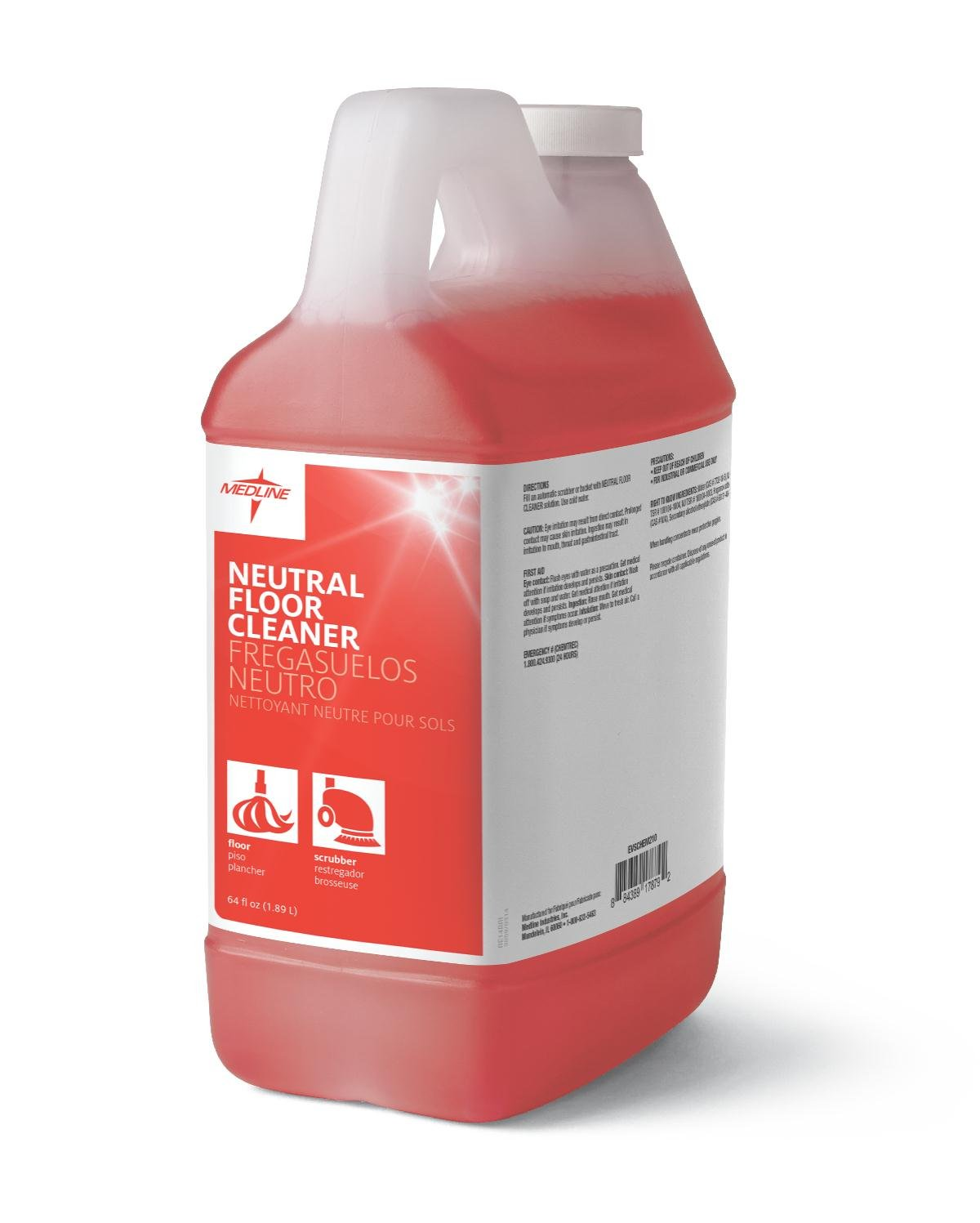 Medline EVSCHEM210 Natural Floor Cleaner, 1/2 gal (Pack of 4)
