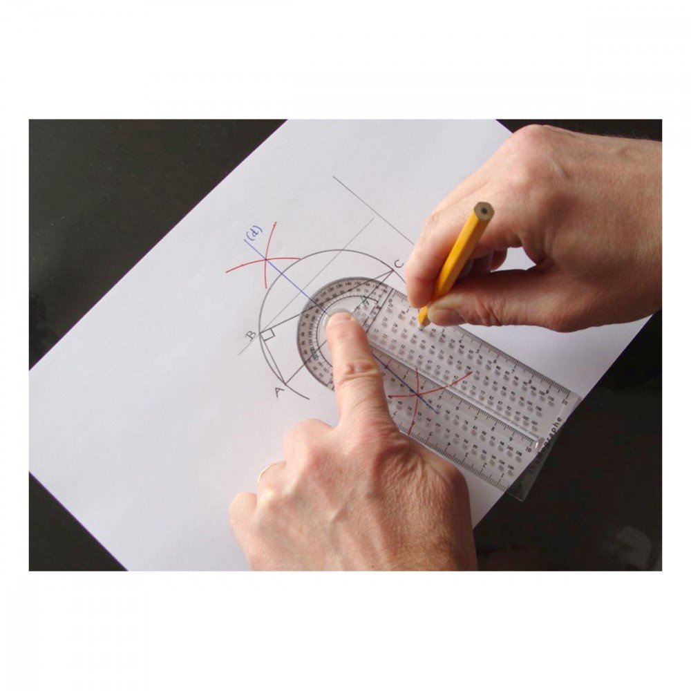 Lineal, Kreisschablone, Geodreieck, Winkelmesser thaMographe 4-in-1-Werkzeug