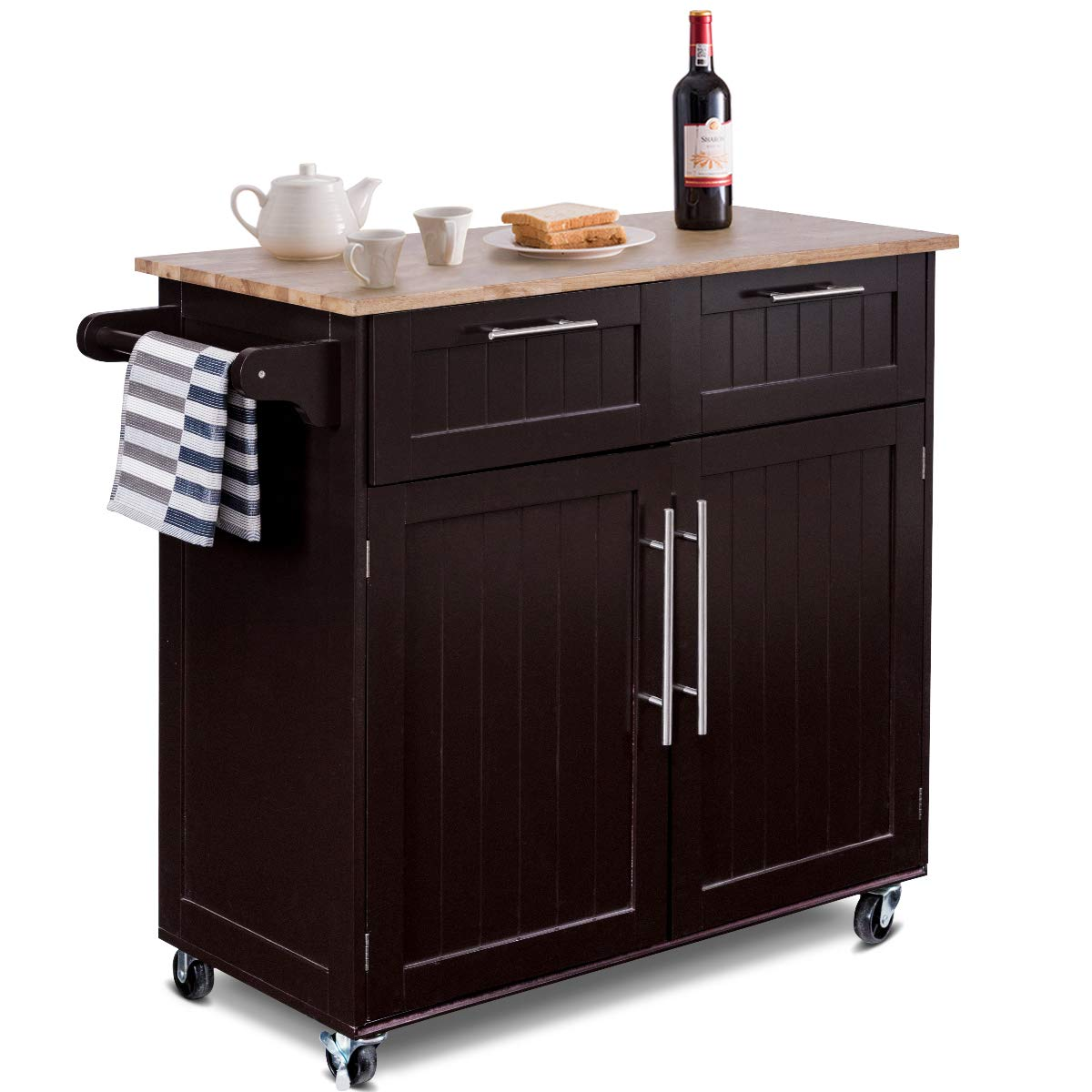 Giantex Kitchen Island Cart Rolling Storage Trolley Cart Home and Restaurant Serving Utility Cart with Drawers,Cabinet, Towel Rack and Wood Top by Giantex (Image #1)