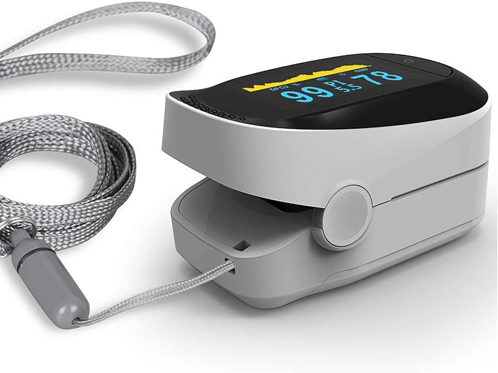 OLED Monitor for Sports and Home Black Lanyard Included SpO2 and PR Value Waveform PI Blood Oxygen Saturation with Sleep Monitoring Function Pulse Oximeter Fingertip