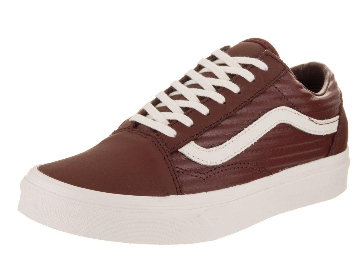 Vans Unisex Old Skool (Moto Leather) Madder Brown/Blanc De Blanc Skate Shoe 5.5 Men US/7 Women US