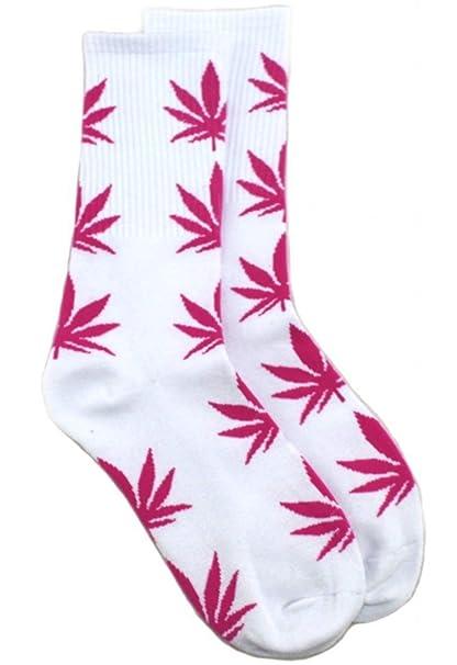 Weed Lovers Calcetines, diseño de cáñamo hojas, hojas de color blanco con rosas