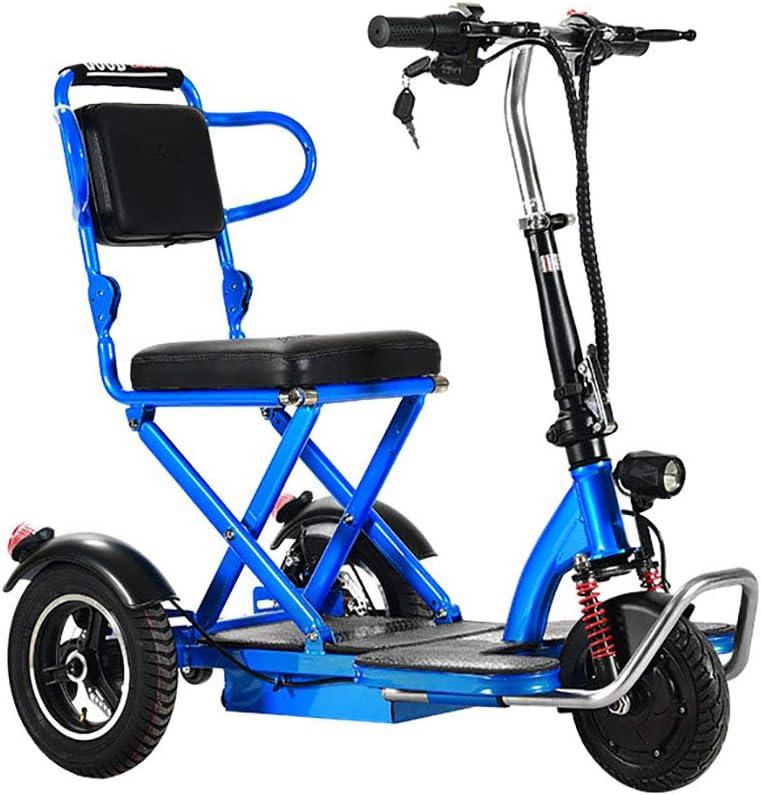 BR Triciclo Eléctrico Plegable, Eléctrico Scooter Marco de Acero 3 Ruedas Bicicleta de Litio Discapacitada Batería Cambio Inteligente