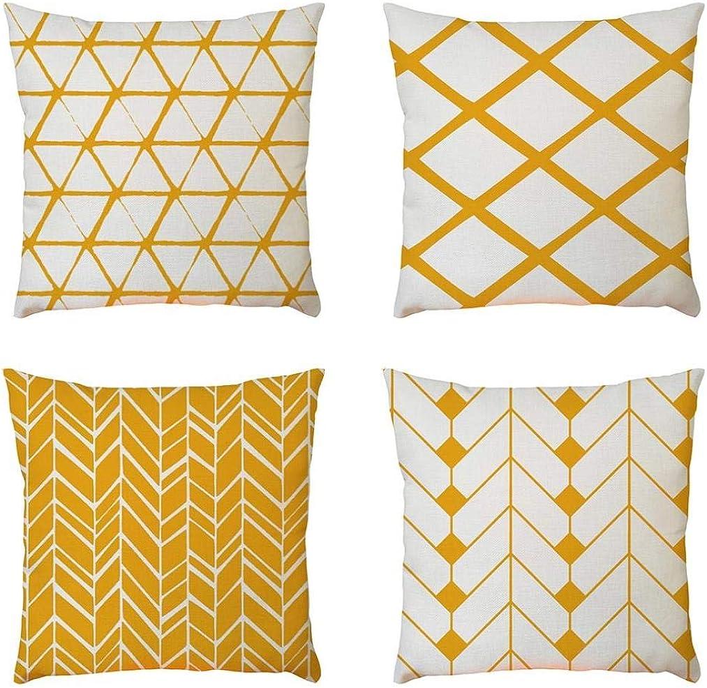 4PC Fundas Cojines 45X45 de Modernos Geométricas Vintage Turquesa Tropical Hojas - Funda de almohada Cuadrada Funda de cojín de lino Decorativa Sofa Jardin Cama