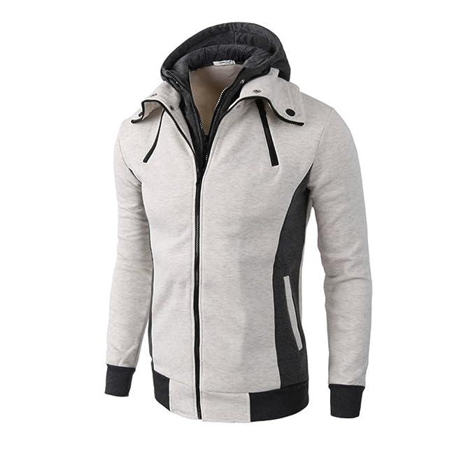 COCO clothing Chaquetas Hombre Encapuchado Cazadoras Casual Jacket Patchwork Sudaderas con Capucha Abrigos Caballero Cremallera Hoodie