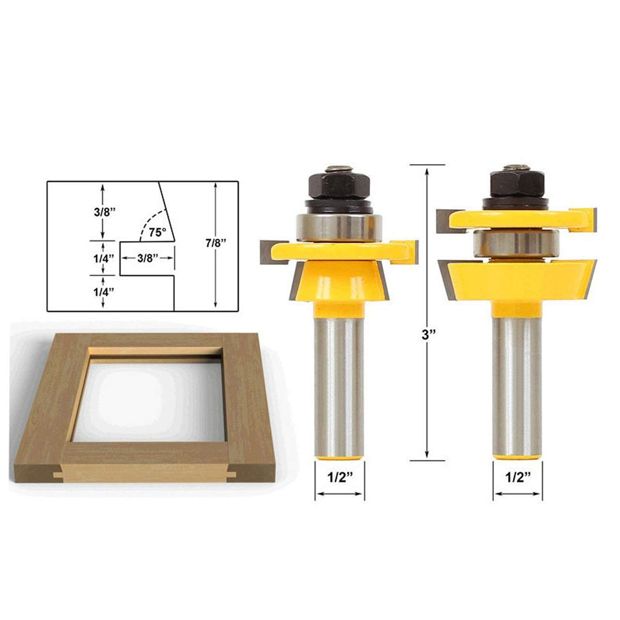 HOEN Rail and Stile Router Bits with Matched 2 Bit Round-Over 1/2-Inch Shank