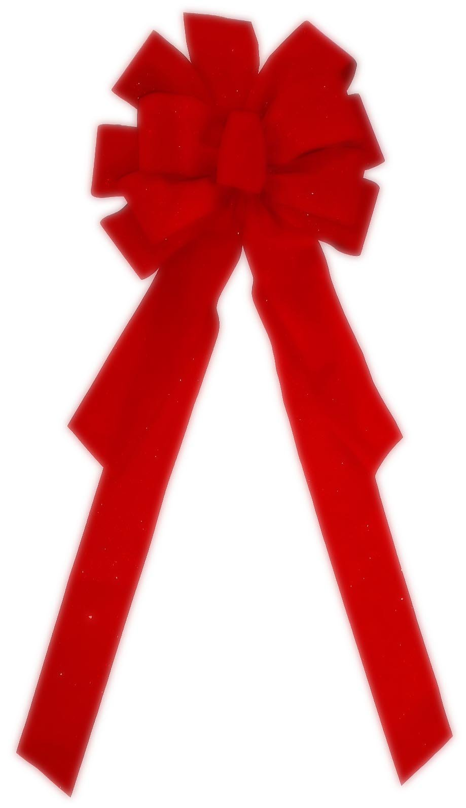 Large Red Bow 10 Loops 30'' X 11'' Velvet #0351567 ~ Indoor or Outdoor Holiday Christmas Decoration for Front Door Tree Wreath Garage House Windows Office Classroom Hotel Fireplace Mantle Church School Decorations Etc.