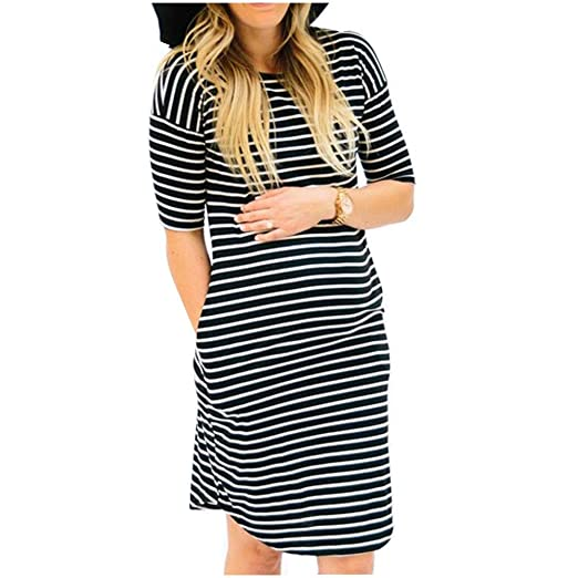 d10876f539d Women Maternity Dress Striped Ruched Fitted Short Sleeve Casual Midi Knee  Length Dress at Amazon Women s Clothing store