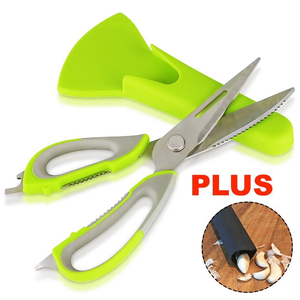 Multifunction Kitchen Scissors [GOONTING] Multipurpose Stainless Steel Kitchen Shears 7in1 Heavy Duty Kitchen Scissors Dishwasher Safe PLUS Garlic Peeler by Magnetor Plus(Lime Green)