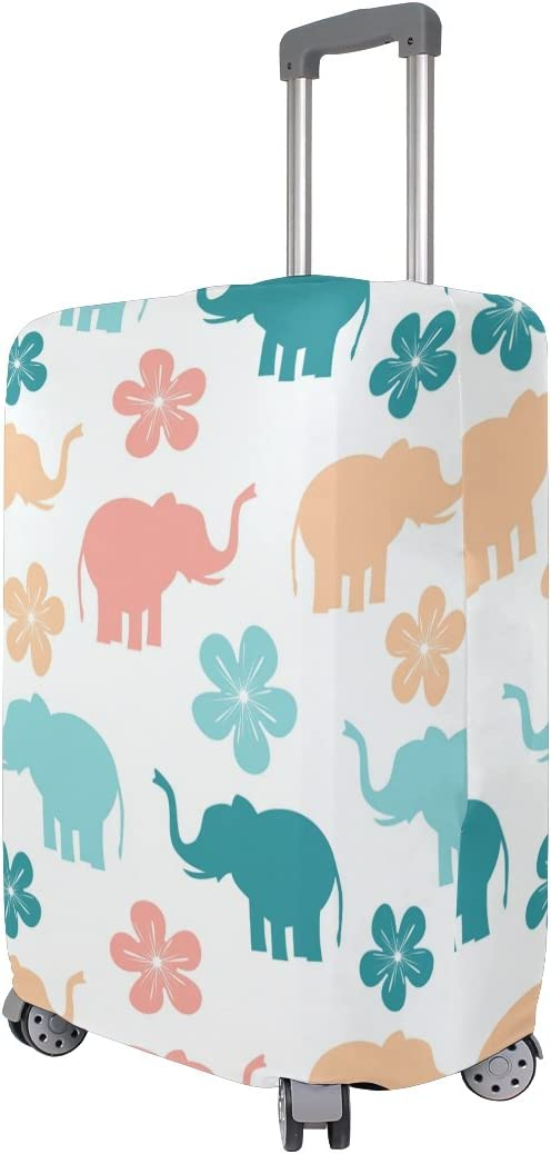 OREZI Luggage Protector Cute Colorful Elephants Travel Luggage Elastic Cover Suitcase Washable and Durable Anti-Scratch Stretchy Case Cover Fits 18-32 Inches