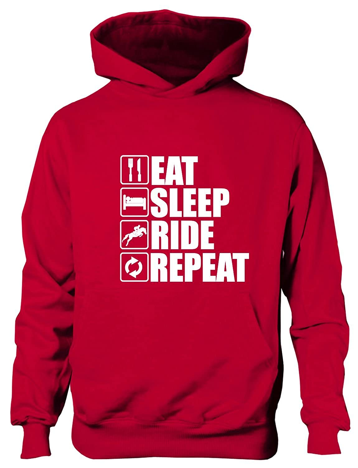 print4ucouk Eat Sleep Ride Repeat Horse Pony Horse Riding Funny Kids Hoodie Age 1-13 Years