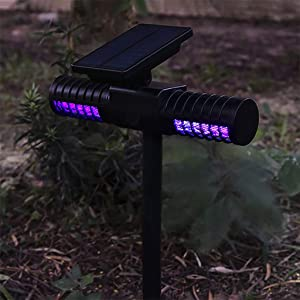 QIKI Solar Powered LED Mosquito Killer Lamp with Double Head - Outdoor Garden Lawn Mosquito Repellent Path Light Mosquito Traps