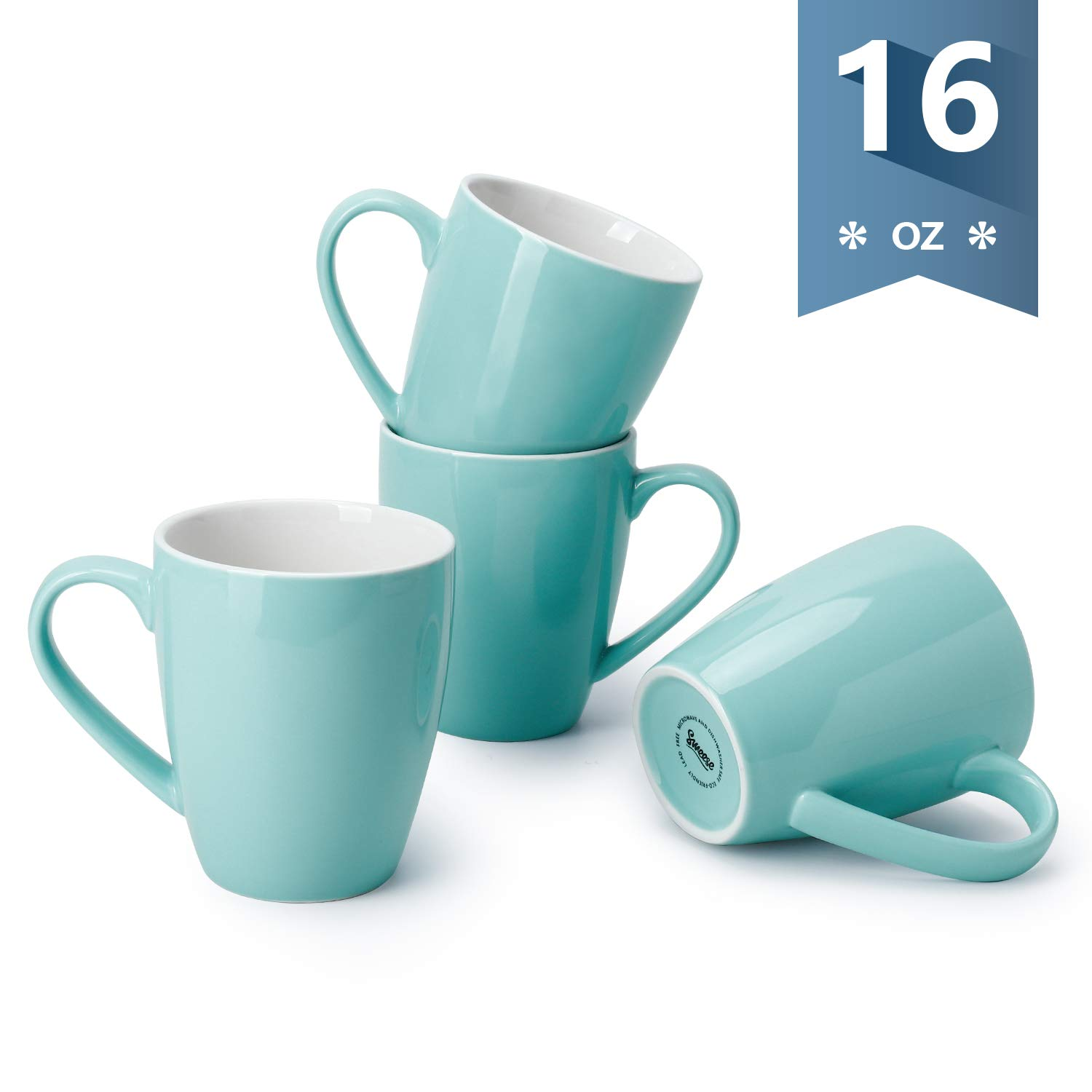Sweese 601.102 Porcelain Mugs - 16 Ounce (Top to the Rim) for Coffee, Tea, Cocoa, Set of 4, Turquoise