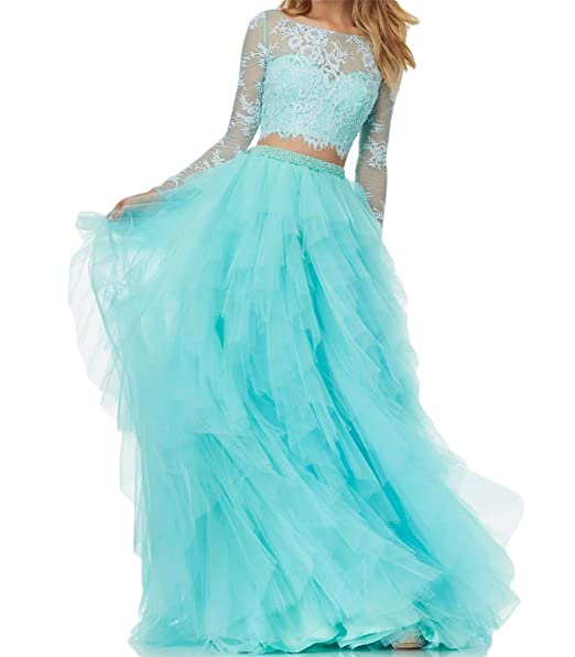 BanZhang Women's Prom Party Dress Long Sleeve Homecoming Dresses 2 Piece Lace A Line Tulle B280 Turquoise 6