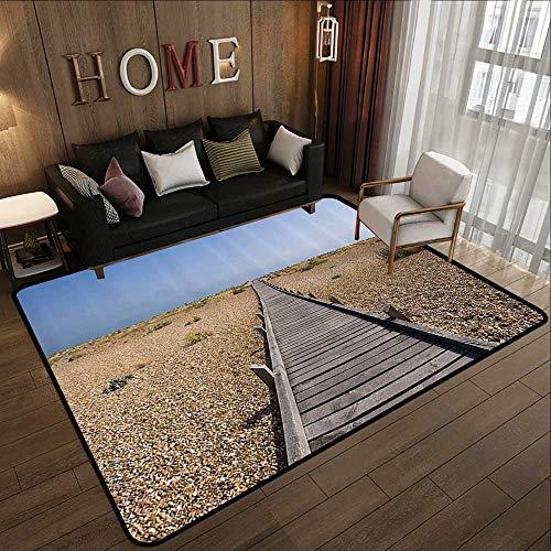 Crea Stone - Floor mat,Seaside Decor Collection,Raised Wood Boardwalk Across a Pebble Coastline Stone Endless Road Nature Theme,Blue Brown Crea 55