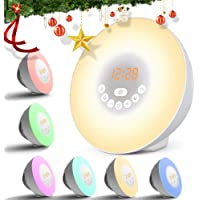 Wake Up Light with 6 Nature Sounds &7 Colors 10 Brightness Sunrise & Sunset Simulator Digital Alarm Clocks with FM Radio Bedside Lights Touch Control Night Light 12/24H Mode by Zhong Liang Rui Da
