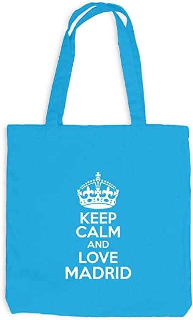 Yute bolsa – Keep Calm and Love Madrid – doméstica WEH regalo Idea España, Surfblau: Amazon.es: Ropa y accesorios