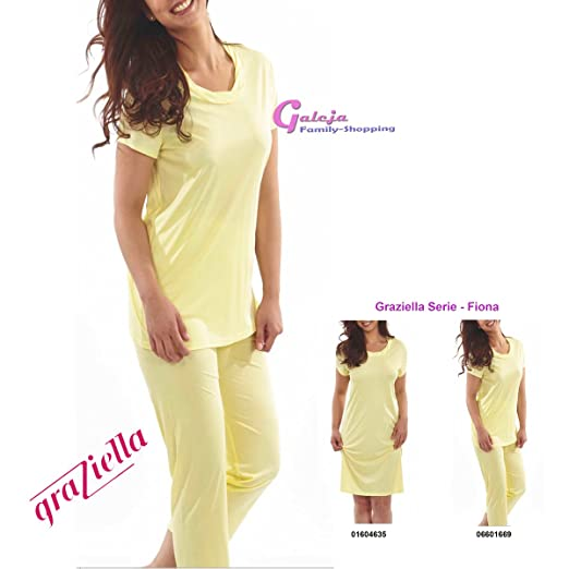 3d03cc48 Fiona Graziella Pyjama nightwear from Micromodal 11 EU Size 36 / 58 38-56  Pyjamas / Nightwear - Yellow - 24: Amazon.co.uk: Clothing