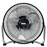 9' Durable Metal High-Velocity Fan with Three-Speed Rotary Switch, Black