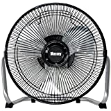 9 Durable Metal High-Velocity Fan with Three-Speed Rotary Switch, Black