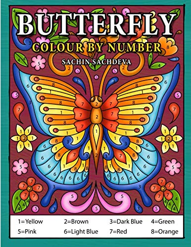 Butterfly Colour by Number: Coloring Book for Kids Ages 4-8
