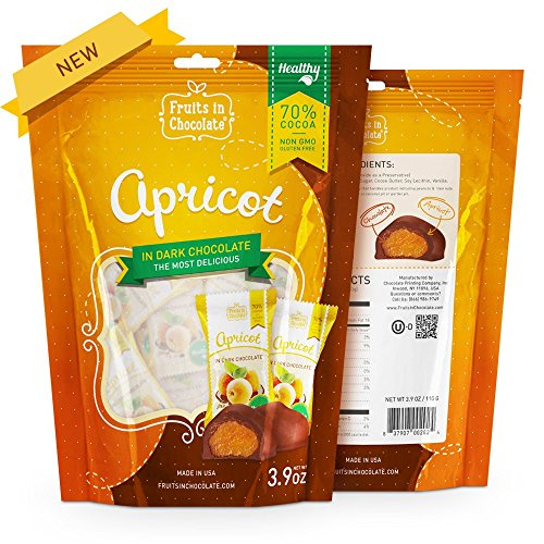 Apricot Chocolate Candy (70% Cocoa Dark Chocolate Covered Apricots, 3.9 oz Bag)