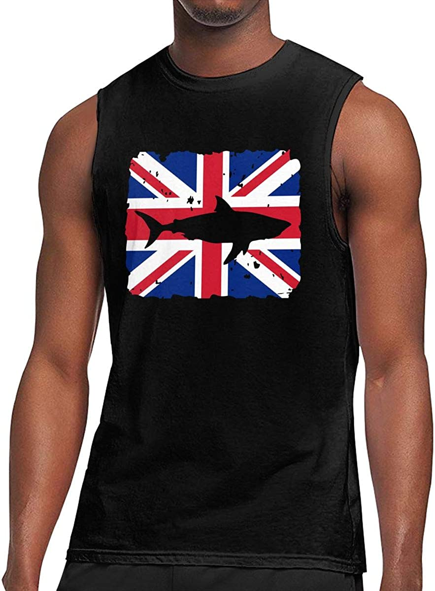 Mens Vintage Shark British Flag Sleeveless T-Shirt Top Cotton Gym Muscle T-Shirts