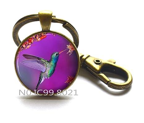 Amazon.com: Morado colibrí llavero, colibríes flores púrpura ...