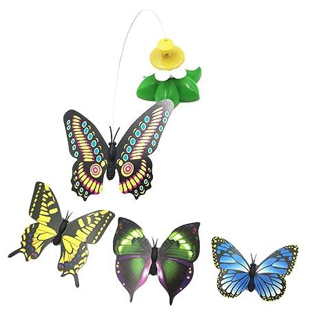 UU19EE Top Venta de Juguetes para Gatos eléctrico Giratorio Colorido Mariposa pájaro Divertido Asiento de Mascota