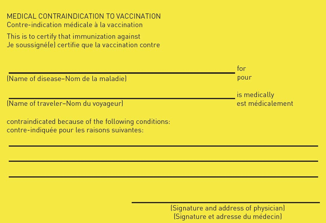 """INTERNATIONAL CERTIFICATE OF VACCINATION OR PROPHYLAXIS"""" with"""