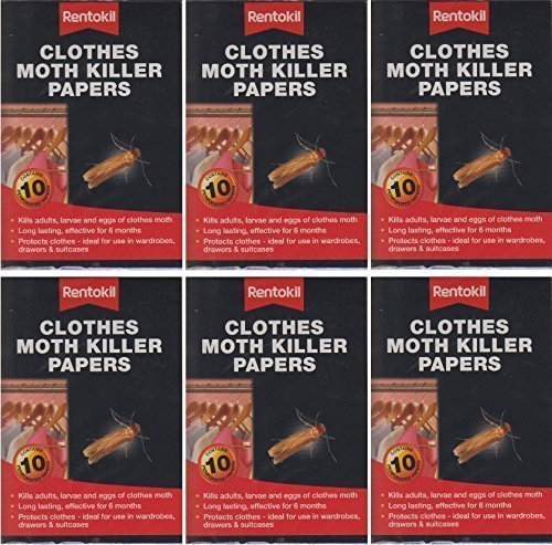 18X Rentokil Clothes Moth Killer Papers 10 Per Pack Kills Larvae Eggs by S