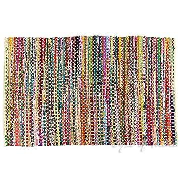 Eyes of India 4 X 6 ft White Decorative Colorful Woven Chindi Multicolor Rug Rag Bohemian Boho Indian