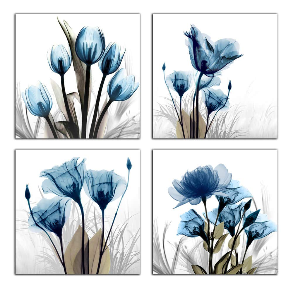 "Flower Canvas Prints Wall Art Decor 4 Panels Blue Elegant Tulip Artwork Simple Life Picture for Living Room Bedroom Home Salon SPA Wall Decoration 12"" x 12"" 4 Pieces"