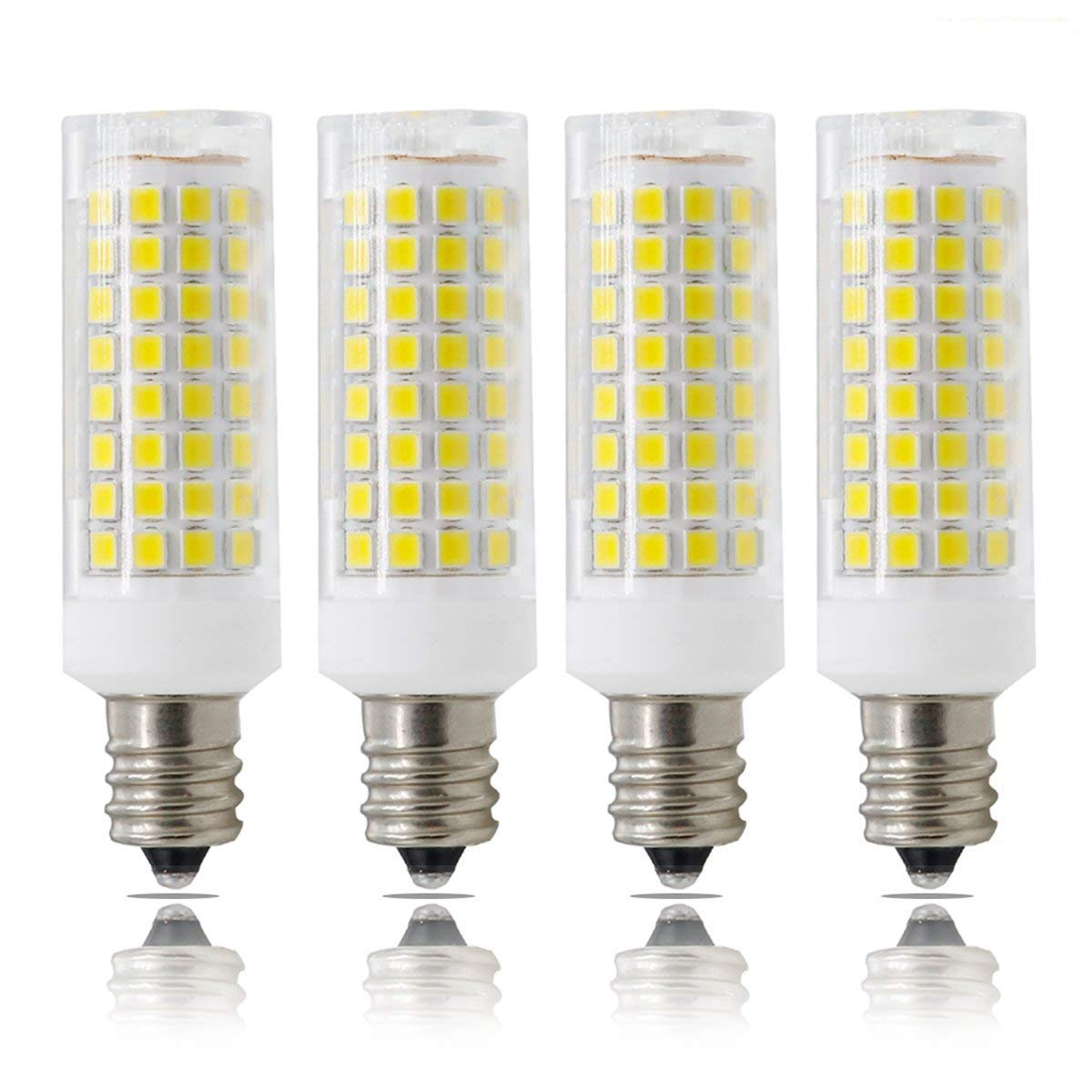 E12 LED, Dimmable Candelabra Base E12 Bulbs, ALL-NEW(102PCS), 7W E12 Led Bulb 75W Equvilent,730LM, 360 Degree Beam Angle T3/T4 Candelabra Base Corn Bulb, AC110-130V, 4-PACK (White)