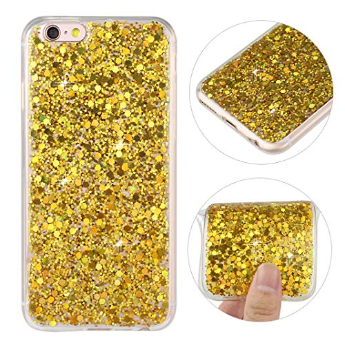 iPhone 6S Case Glitter Gold, iPhone 6 Back Cover, Sparkle Luxury Bling Glitter Soft Gel Rubber Silicone TPU Bumper Phone Skin Shell Anti-Scratch Shockproof Protective Case for Apple iPhone 6/6S