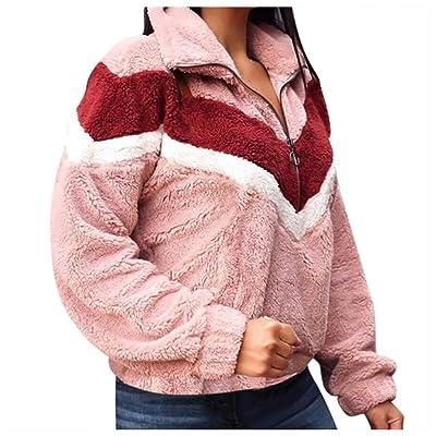 Abrigo Jerséis Encapuchado Mujer Patchwork Zipper Flannel Sudadera de Manga Larga Pullover Tops Blusa: Ropa y accesorios